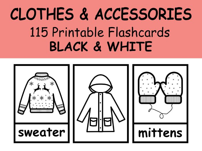 CLOTHES Flashcards BLACK & WHITE For EFL\ESL\ENL