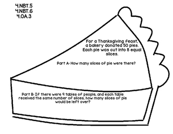 4th Grade Common Core Open Ended Thanksgiving Math Assessment