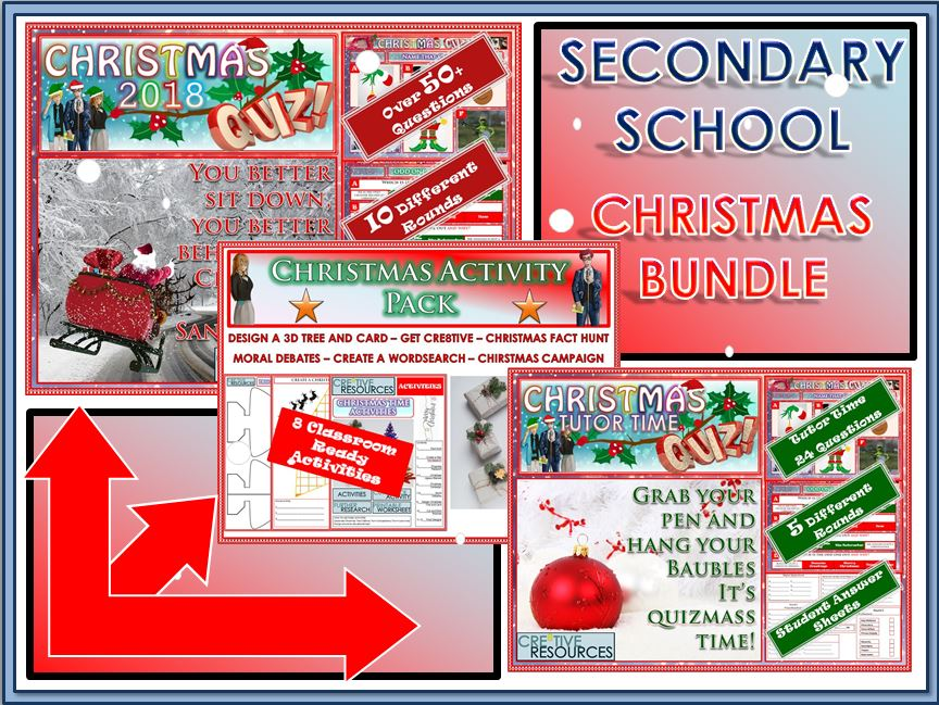 Christmas Quiz and Activity Pack for Secondary School Bundle