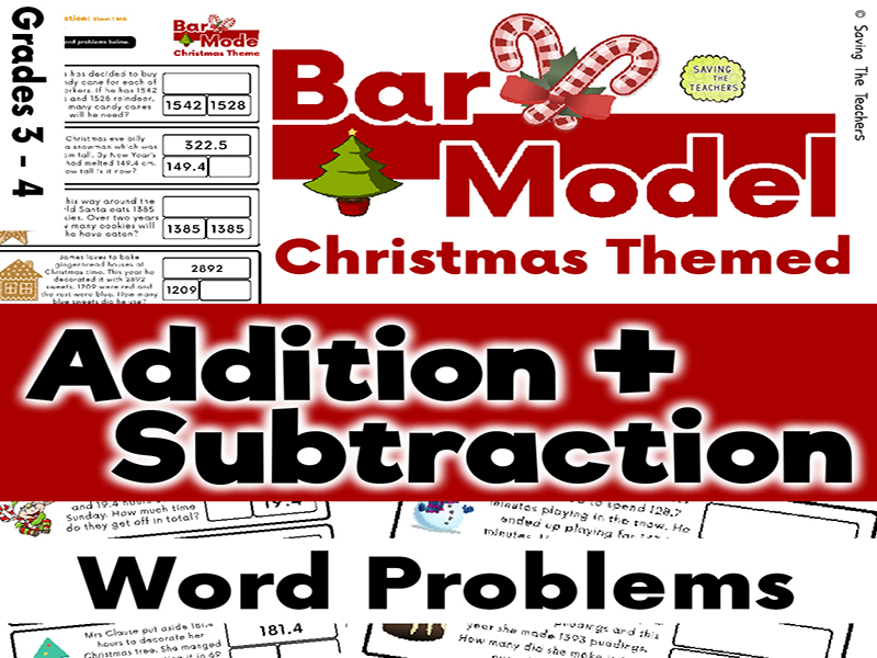 Christmas Addition and Subtraction Bar Model Word Problems - Years 4 and 5