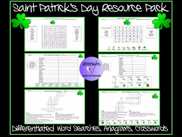 Saint Patrick's Day Resource Pack - Differentiated Word Seaches, Anagrams and Crosswords