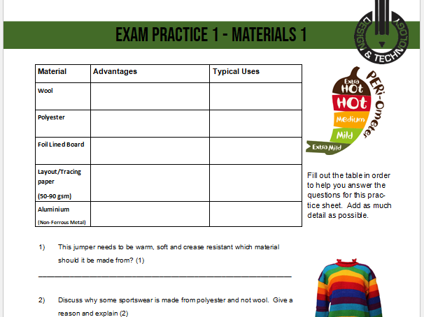 D&T KS4 Core Content Exam Question Practice Worksheets (14 Worksheets - Suits all exam boards)