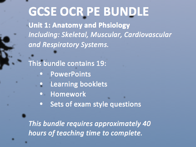 OCR GCSE PE 9-1 2016 Unit 1 Applied Anatomy and Physiology