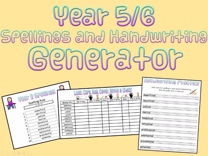 Year 5 and 6: Spellings and Handwriting Generator (+ Recording Sheet)