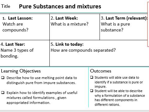 KS4 GCSE Pure substances and mixtures