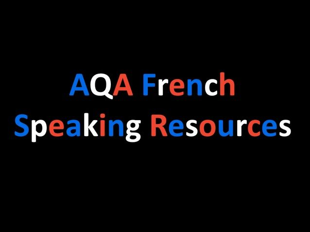 French AQA Speaking Questions  (Theme 1)