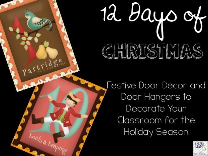 12 Days of Christmas Door Hangers & Posters