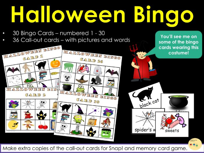 Halloween Bingo! Snap! and Memory Card Games - 30 Bingo Cards and 36 Call-out Cards (Multiple Use)