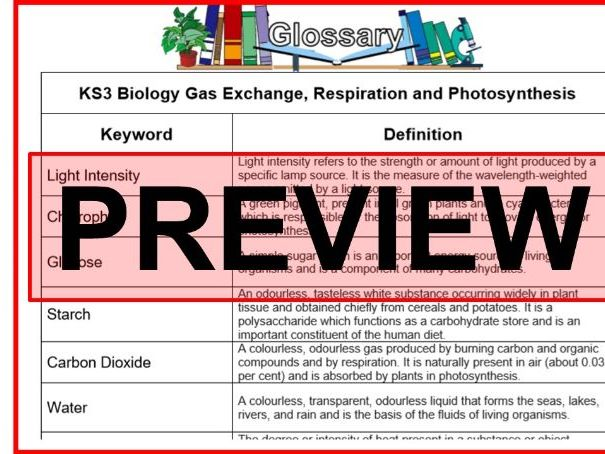 KS3 Science Glossary Biology Gas Exchange, Respiration and Photosynthesis (Blank & Completed)