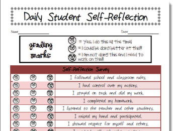 Daily Student Behavior Self-Reflection Tracker Form Template