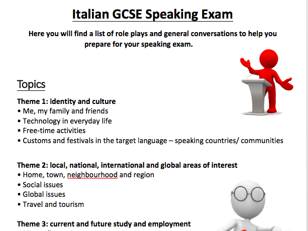 Italian GCSE Speaking Booklet (AQA) - Role plays and General Conversation