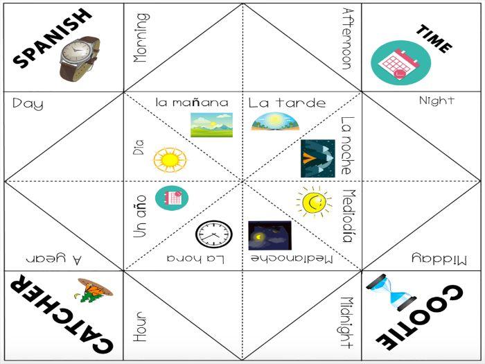 Basic Spanish Vocabulary: Time Vocabulary Cootie Catcher Game