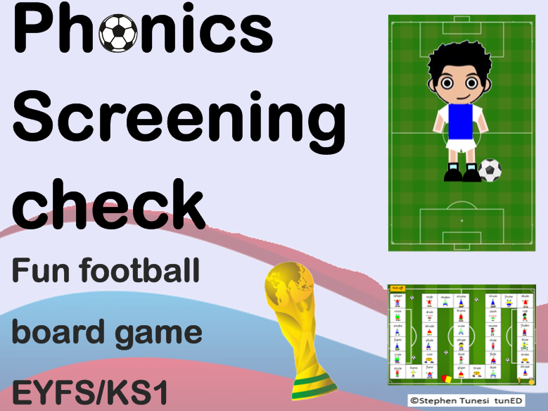 Year 1 phonics football game board. Reading, Phonics screening check prep split digraphs EYFS KS1