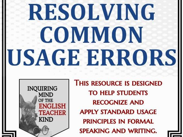 High School Grammar Packet: Resolving Common Word Usage Errors