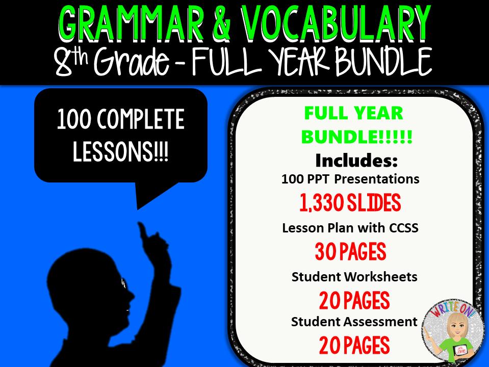 GRAMMAR & VOCABULARY PROGRAM - 8th Grade - Standards Based – FULL YEAR!!!!!!!