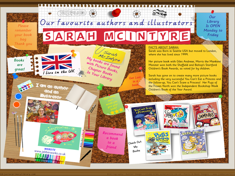 Library Poster - Sarah McIntyre Author/Illustrator Of Picture Books