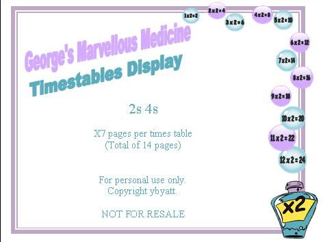 George's Marvellous Medicine Times Tables Display 2s 4s