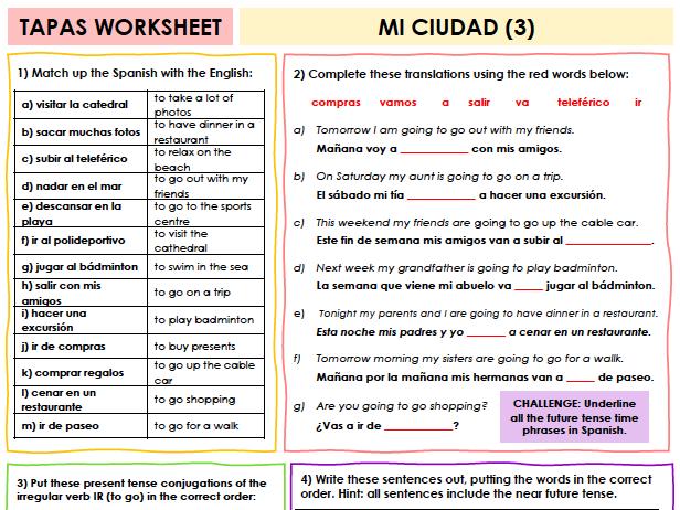 SPANISH TAPAS WORKSHEET WITH ANSWERS - Mi ciudad [3]