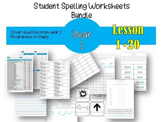 Year 1 Spelling Worksheet Bundle - Lesson 1 - 20