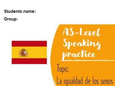 As Speaking conversational booklet questions La igualdad de los sexos
