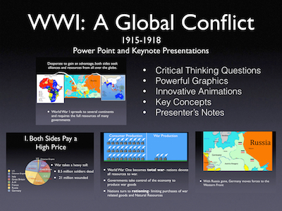 """World War I """"A Global Conflict"""" 1915-1918 Power Point and Keynote Presentations"""