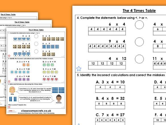 Year 3 The 4 Times Table Autumn Block 3 Maths Homework Extension