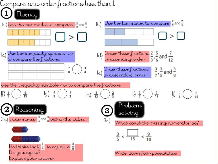 Fractions- Compare and order fractions less than 1 - Year 5