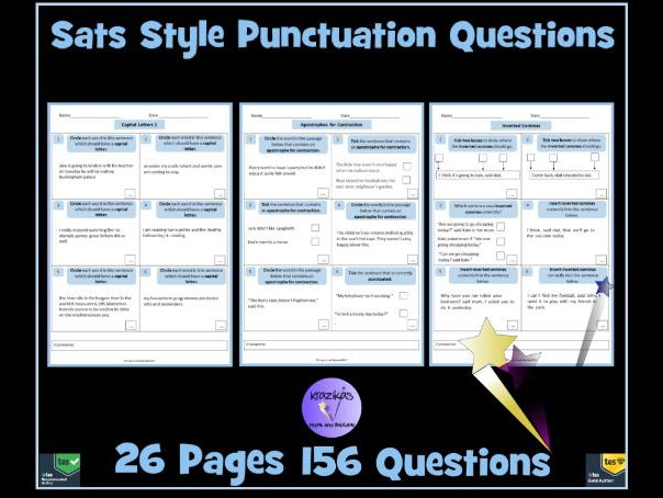 SATS Style Punctuation Practice and Assessment Questions - 156 Questions (26 Pages)