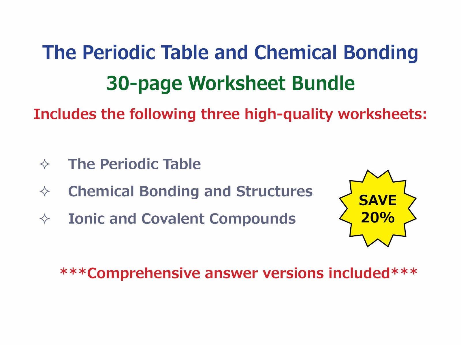 Chemical bonds worksheet middle school