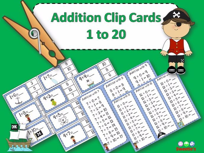 Addition Facts 1 to 20 Clip Cards - Pirates