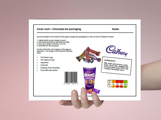 D&T coverwork - Chocolate bar packaging design - 1 hour drawing activity