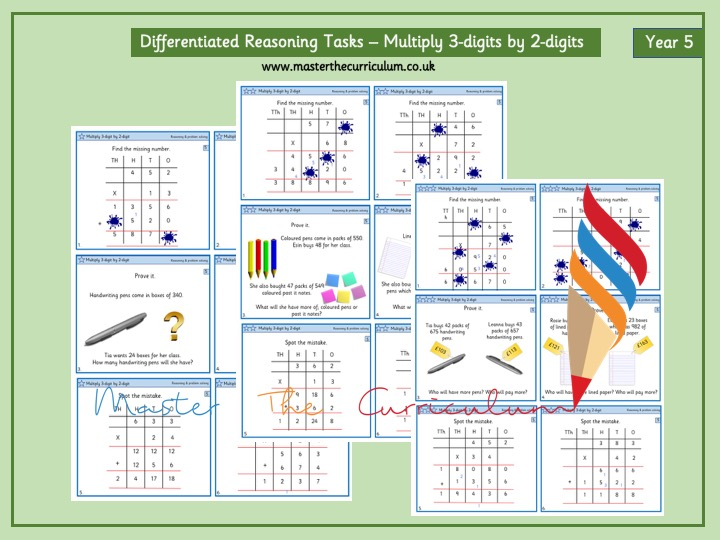 Year 5- Differentiated Reasoning Tasks- Multiplication- 3-digit by 2-digit- White Rose Style