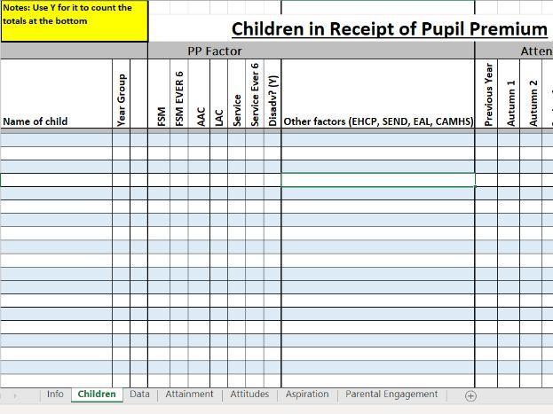 Pupil Premium Editable Excel Tracker