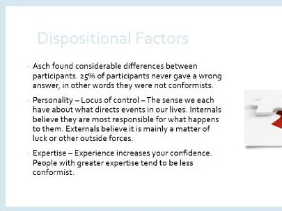 AQA GCSE Psychology - Conformity - Social and Dispositional Factors.