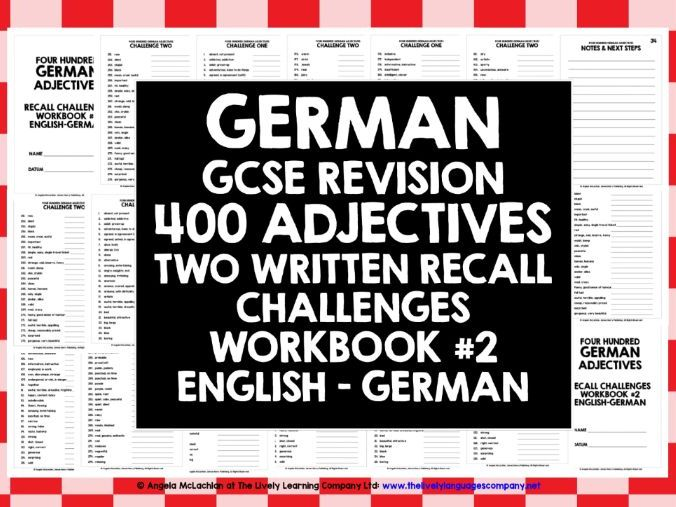 GCSE GERMAN: GERMAN ADJECTIVES RECALL WORKBOOK #2