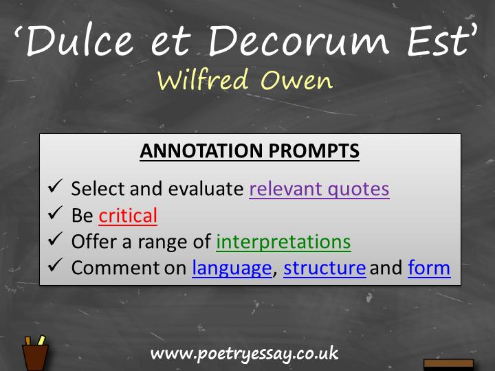 Wilfred Owen – 'Duce et Decorum Est – Annotation / Planning Table / Questions / Booklet