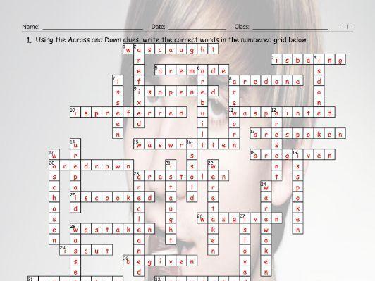 Passive Voice Crossword Puzzle Teaching Resources