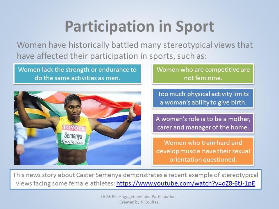AQA GCSE PE (9-1) - Socio-Cultural Influences (3.2.2) - Engagement and Participation Presentation