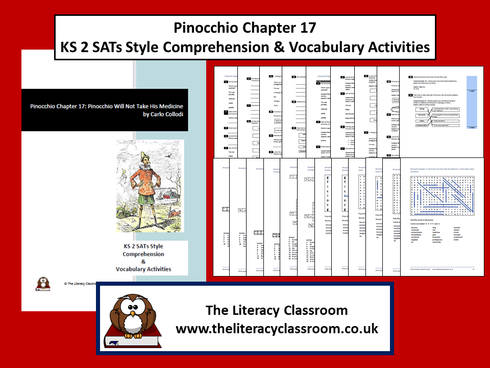 Pinocchio Chapter 17: KS2 SATs style comprehension and Vocabulary Activities