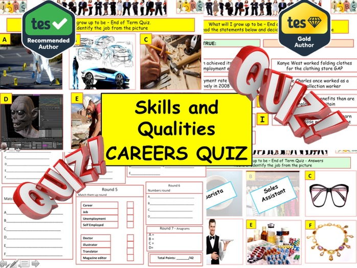 Skills and Qualities Careers Quiz  (Jobs Quiz) - 7 rounds and 40+Qs' .Summer term Quiz.