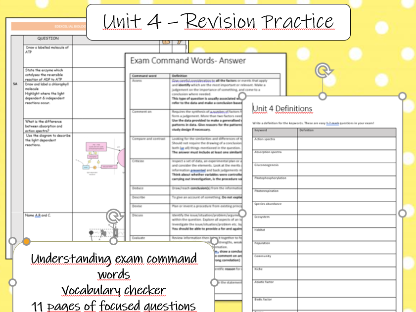 IAL Edexcel Biology Unit 4 Revision Practice