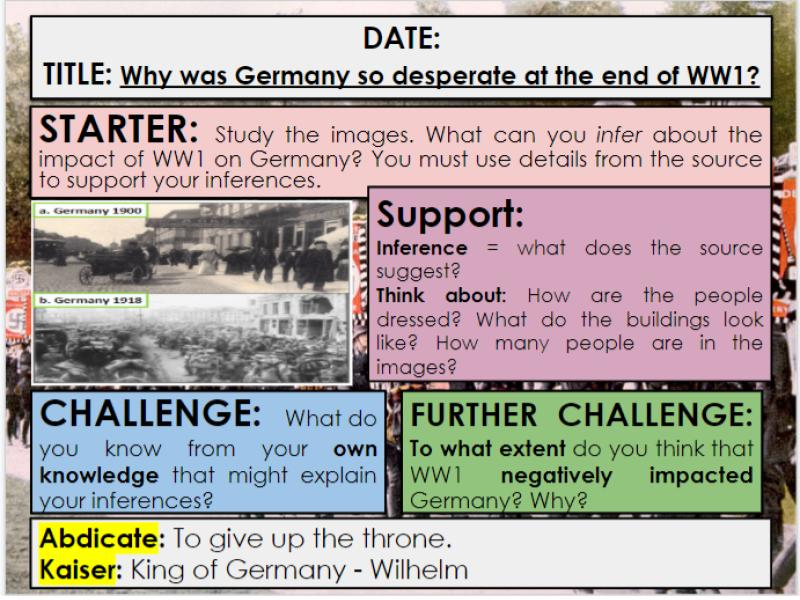 Edexcel 9-1 History GCSE: Paper 3 Germany: KT1 Lesson 1: What was Germany like at the end of WW1?