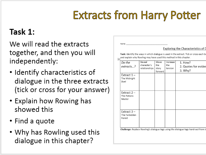 Uses of Dialogue with extracts from Harry Potter