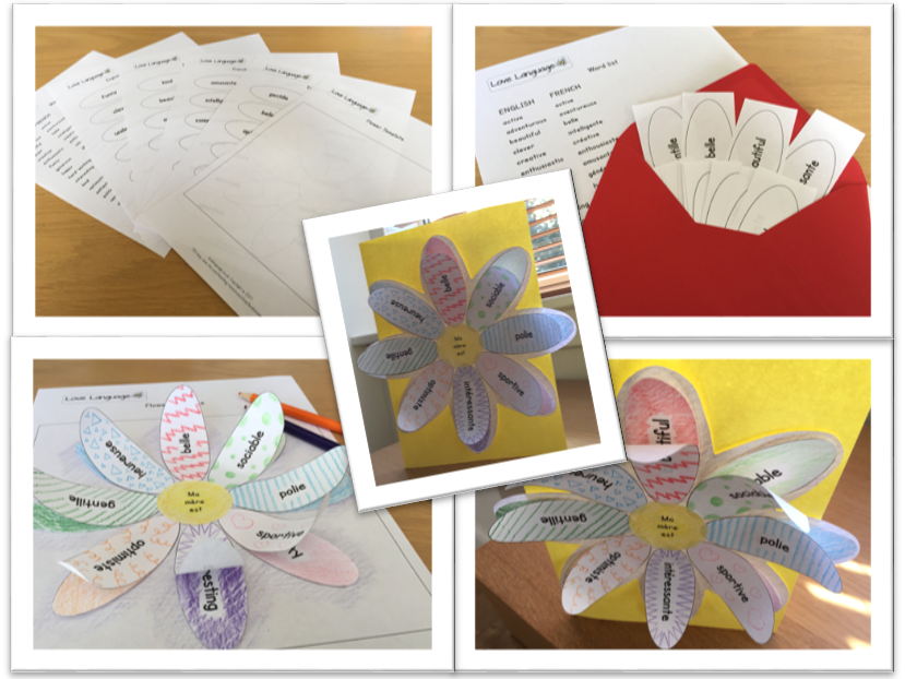 French personalised Mother's Day card - adjectives and dictionary skills activity