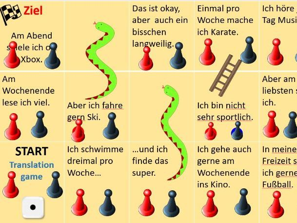 Interactive snake and ladders game (German Hobbies topic) can be edited