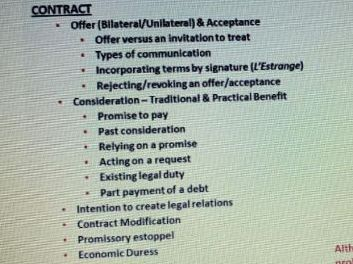 INTRO TO CONTRACT LAW