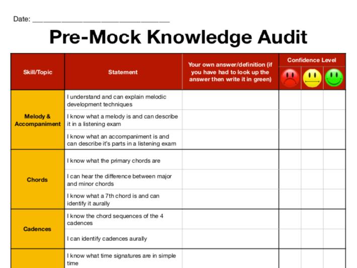 OCR GCSE Music Knowledge Check (Pre Listening Mock)
