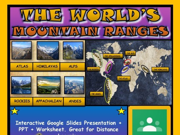 The World's Mountain Ranges: Google Slides + Powerpoint