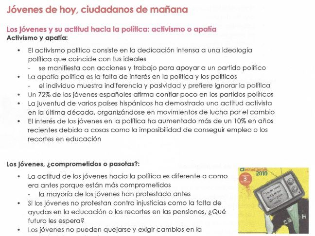 AQA Jovenes de hoy, ciudadanos de manana NOTES for NEW A LEVEL SPANISH