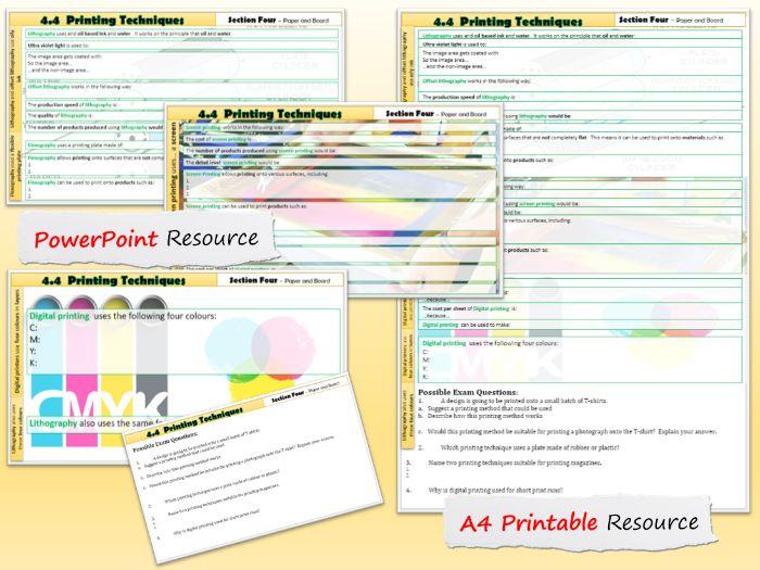 AQA GCSE DT 4.4 Printing Techniques
